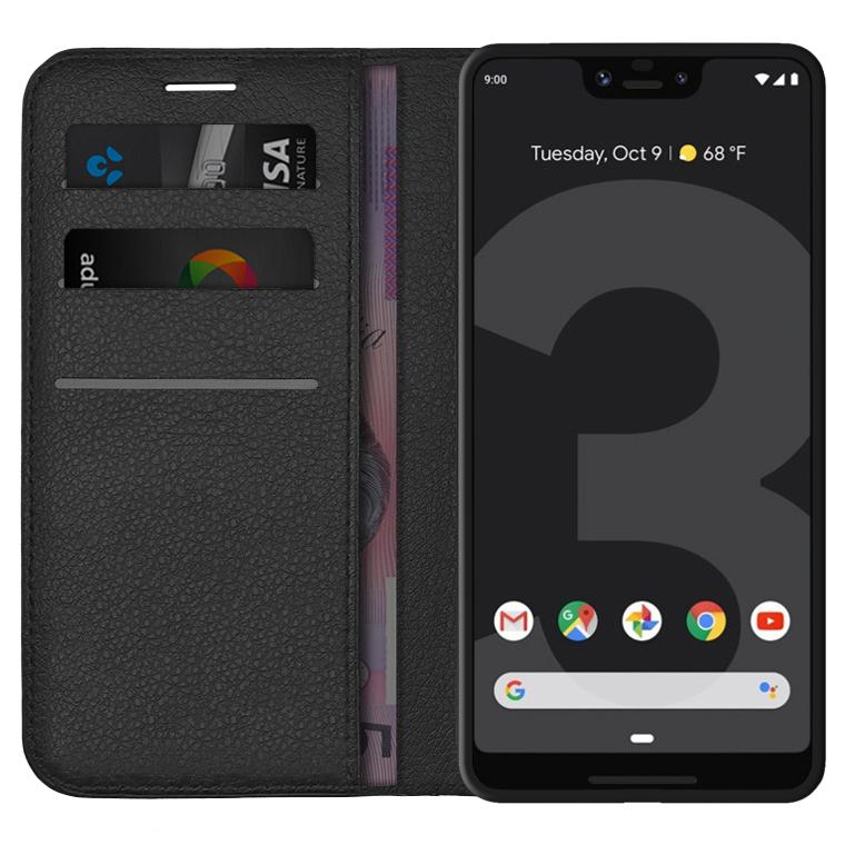 huge selection of 51e93 4449c Leather Wallet Case Card Holder - Google Pixel 3 XL (Black)